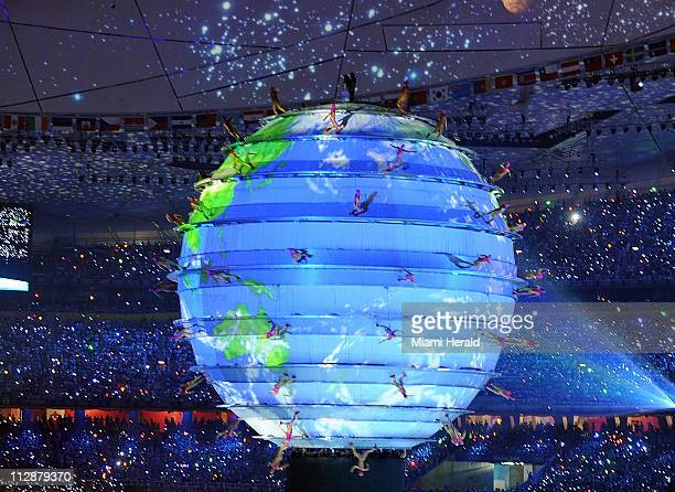 A globe shines in the National Stadium during the opening ceremony on Friday August 8 to kick off the Games of the XXIX Olympiad in Beijing China