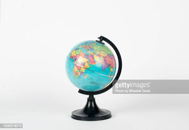 globe showing africa, europe and asia - europa continente foto e immagini stock