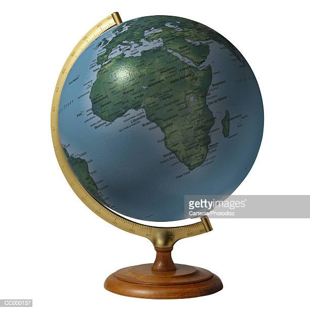 globe showing africa - mappamondo foto e immagini stock