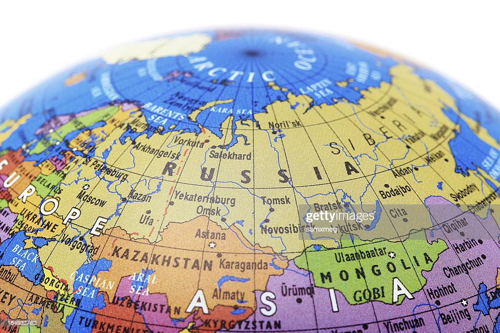 A globe showing russia with a white background stock photo getty a globe showing russia with a white background stock photo gumiabroncs Images