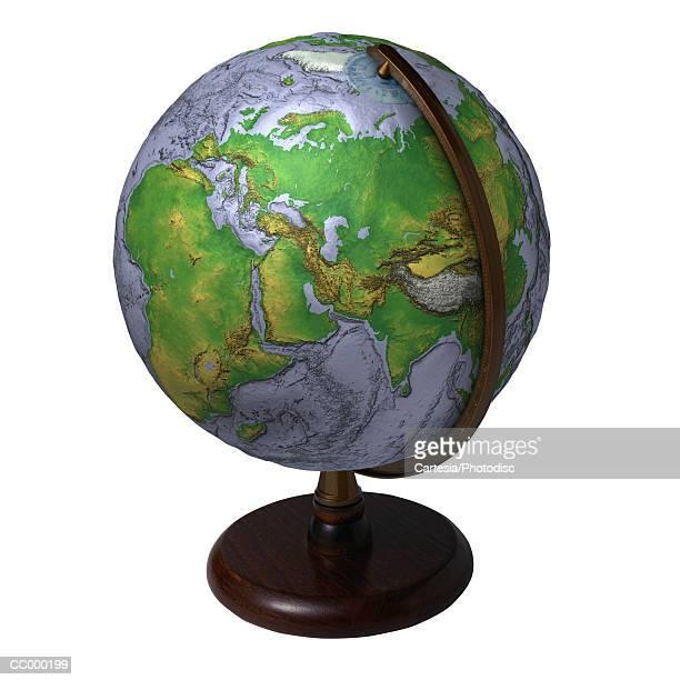globe showing the middle east, europe and asia - mappamondo foto e immagini stock