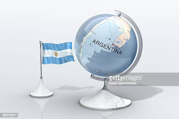 globe shows argentina closeup with ensign - argentinas flagga bildbanksfoton och bilder