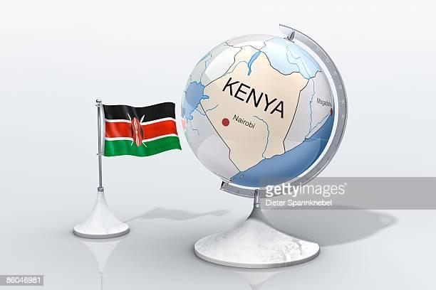 globe shows kenya closeup with ensign - kenyan flag stock pictures, royalty-free photos & images