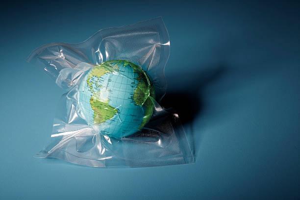 Globe Shrink Wrapped In Plastic Wall Art