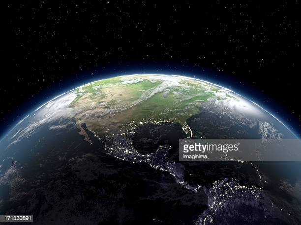 globe viewing from space - planet earth stock pictures, royalty-free photos & images