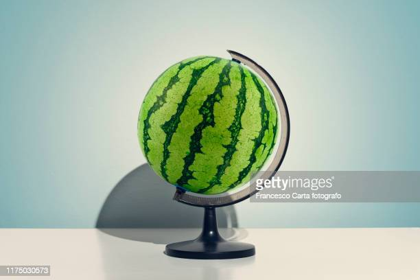 globe watermelon - bizarre stock pictures, royalty-free photos & images