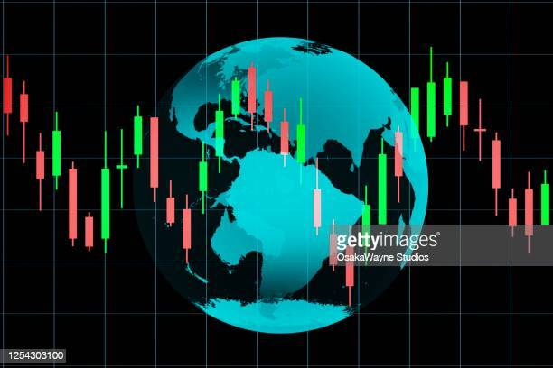 globe with candlestick chart - graphic accident photos stock pictures, royalty-free photos & images