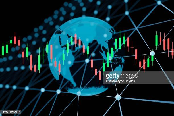 globe with candlestick chart - bid stock pictures, royalty-free photos & images