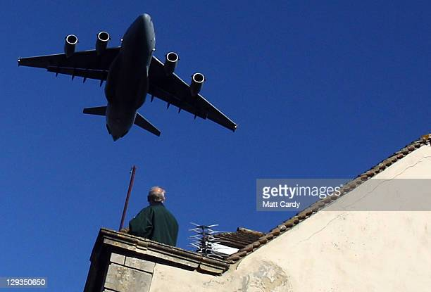 Globemaster does a flypast during a ceremony to celebrate the town gaining the title Royal Wootton Bassett on October 16 2011 in Wootton Bassett...