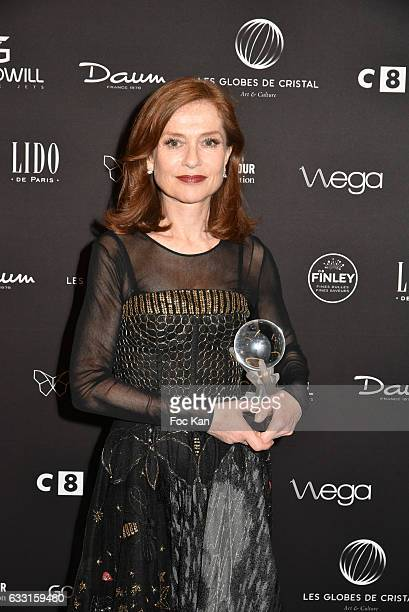 Globes 2017 Best Actress awarded Isabelle Huppert attends Les Globes de Cristal Awards 11th Ceremony at Lido on January 30 2017 in Paris France