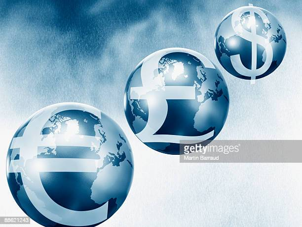 Globes with euro, pound and dollar symbols