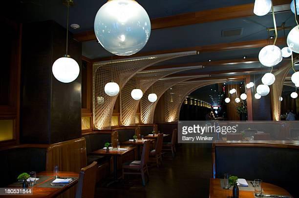Globular fixtures in hotel restaurant