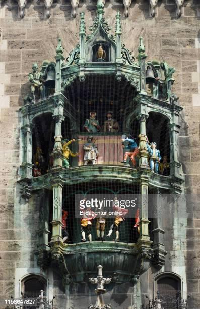 Glockenspiel Neues townhall Marienplatz Munich Bavaria Germany