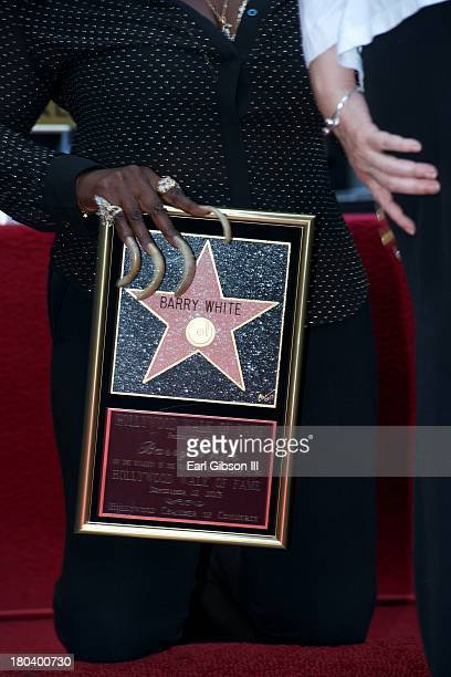 Glodean White holds the commerative plaque of the Star that was posthumously presented on the Hollywood Walk of Fame on September 12 2013 in...