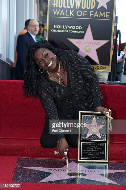 Glodean White poses for a photo as Barry White was honored Posthumously with a star on the Hollywood Walk of Fame on September 12 2013 in Hollywood...