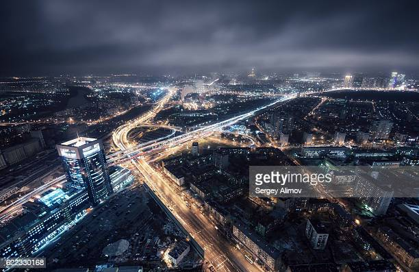 Gloomy night over busy Moscow