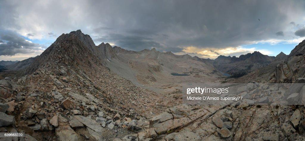 Gloomy Rocky high altitude landscape in the Sierra Nevada. : Stock Photo