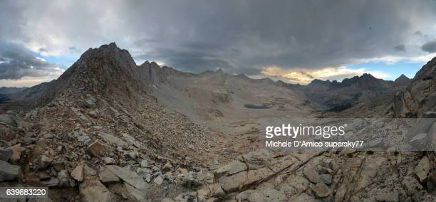 gloomy rocky high altitude landscape in the sierra nevada. - john muir trail stock photos and pictures
