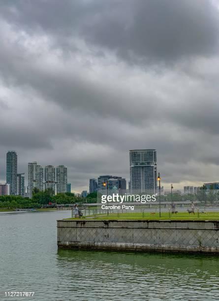 Gloomy weather in urban Singapore.