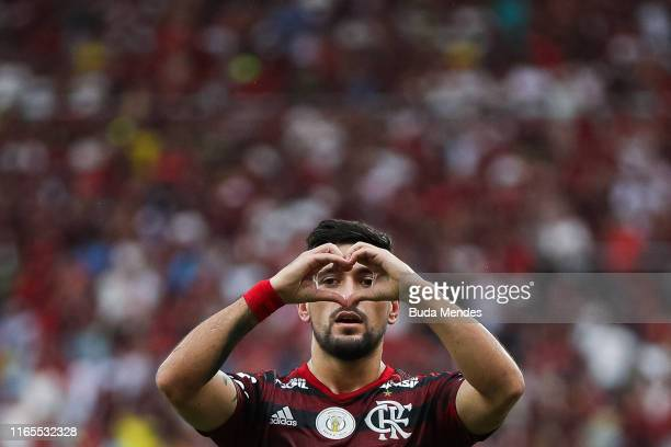 Glorgian De Arrascaeta of Flamengo celebrates a scored goal against Palmeiras during a match between Flamengo and Palmeiras as part of Brasileirao...