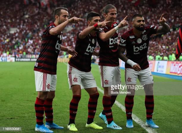 Glorgian De Arrascaeta of Flamengo celebrates a scored goal with his teammates during a match between Flamengo and Palmeiras as part of Brasileirao...