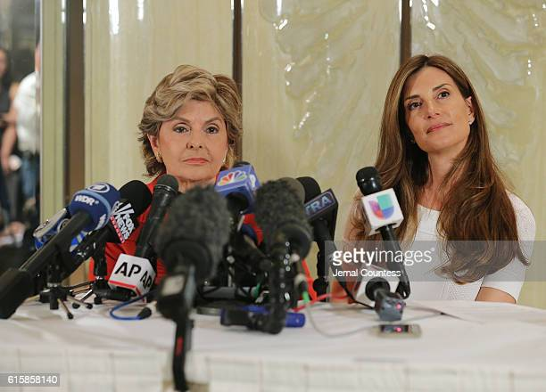 Gloria Alfred and Karena Virginia speak during a press conference where Karena Virginia identified herself as victim of sexual misconduct by...