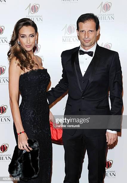 Gloria Allegri and Massimiliano Allegri attend Fondazione Milan 10th Anniversary Gala on November 20 2013 in Milan Italy