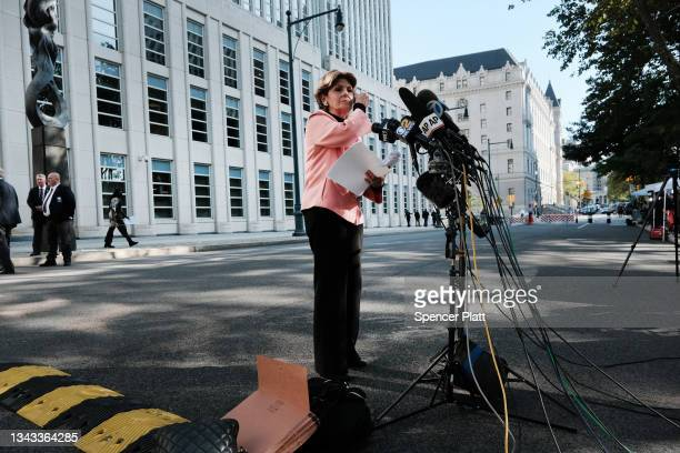Gloria Allred, a lawyer for several of R. Kelly's accusers in the case against the R&B star, speaks to the media after a federal jury in Brooklyn...