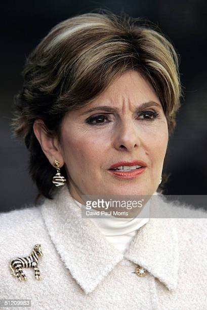 Gloria Allred Amber Frey's lawyer speaks to the media during a lunch break for the ongoing trial of Scott Peterson at the San Mateo County Court...