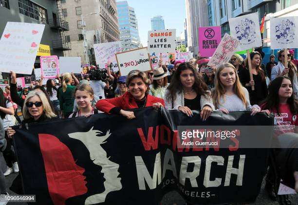 Gloria Allred and other protestors march during the Third Annual Women's March LA in downtown Los Angeles California on January 19 2019 Thousands of...