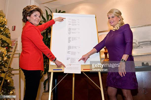 Gloria Allred and Sharon Bialek attend a press conference in reaction to Herman Cain's decision to suspend his 2012 Presidential campaign at the...
