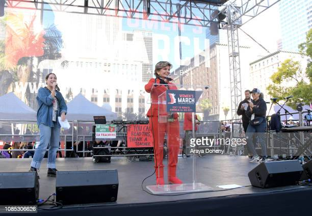 Gloria Allred attends the 2019 Women's March Los Angeles on January 19 2019 in Los Angeles California