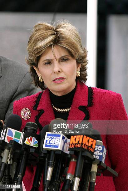 Gloria Allred attorney to Amber Frey gives a press conference during the lunch break the day Amber Frey testifies at the Scott Peterson murder trial...