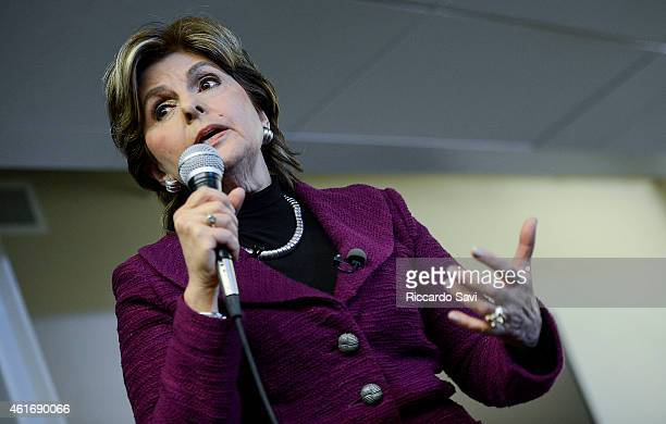 Gloria Allred holds a press conference with Beth Ferrier alleged victim of Bill Cosby on January 17 2015 in Denver Colorado