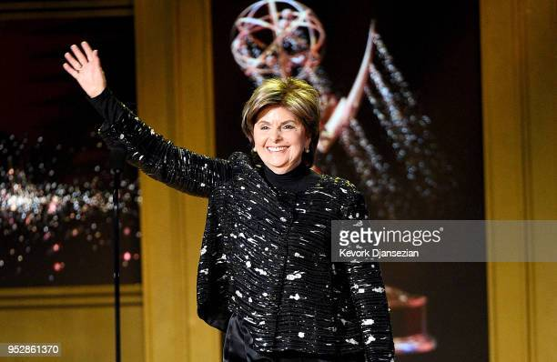 Gloria Allred speaks onstage during the 45th annual Daytime Emmy Awards at Pasadena Civic Auditorium on April 29 2018 in Pasadena California