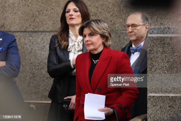 Gloria Allred who represents three of Harvey Weinstein's accusers stands beside Weinstein's lawyer Donna Rotunno before they spoke to the media...