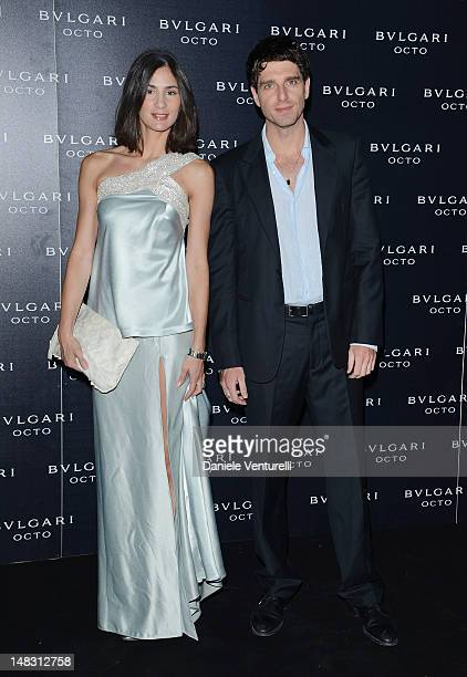 Gloria Bellicchi and Giampaolo Morelli attend the OCTO The New Architecture of Time by Bulgari event at the Stadio dei Marmi on July 13 2012 in Rome...