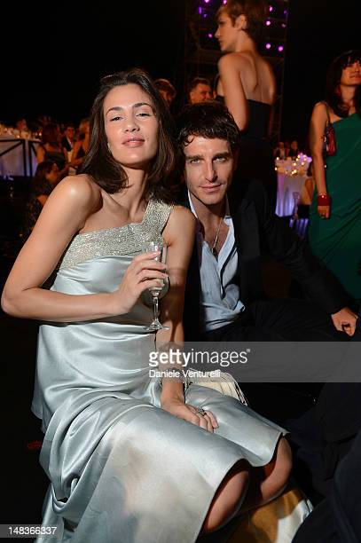 Gloria Bellicchi and Giampaolo Morelli attend the OCTO The New Architecture of Time by Bulgari dinner at the Stadio dei Marmi on July 13 2012 in Rome...