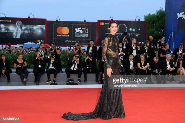 Gloria Bellicchi walks the red carpet ahead of the 'Ammore E Malavita' screening during the 74th Venice Film Festival at Sala Grande on September 6...
