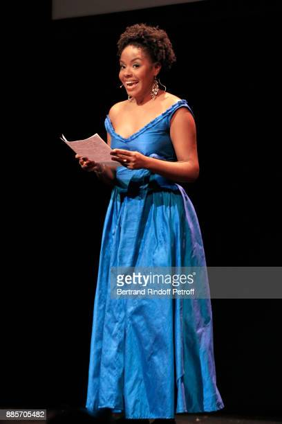 Gloria Bonheur speaks during the Tribute to Actress Jeanne Moreau at Odeon Theatre on December 4 2017 in Paris France