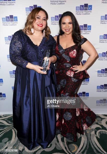Gloria Calderon Kellet and Tanya Saracho winner of the 'Outstanding Television Series Impact Award' for the tv series 'Vida' pose during the 22nd...