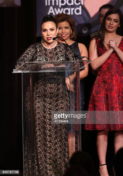 Gloria Calderon Kellett speaks onstage during the 20th Annual National Hispanic Media Coalition Impact Awards Gala at Regent Beverly Wilshire Hotel...
