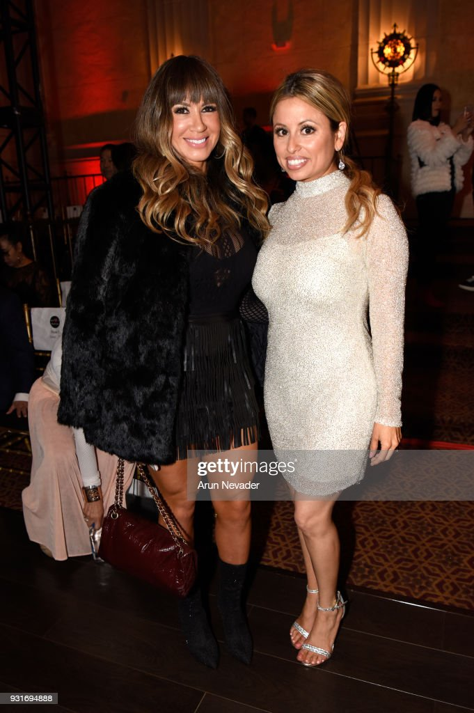 Gloria Castellanos (L) and Rocia Ortegon at Los Angeles Fashion Week Powered by Art Hearts Fashion LAFW FW/18 10th Season Anniversary - Backstage and Front Row - Day 2 at The MacArthur on March 13, 2018 in Los Angeles, California.