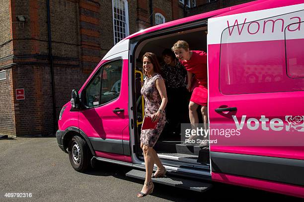 Gloria De Piero Harriet Harman and Yvette Cooper prospective parliamentary candidates for the Labour Party arrive at Stockwell Gardens Nursery for...