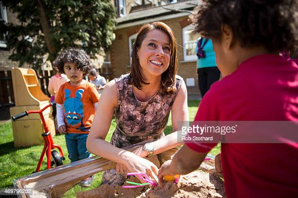 Gloria De Piero prospective parliamentary candidate for the Labour Party in Ashfield meets parents children and staff at Stockwell Gardens Nursery...