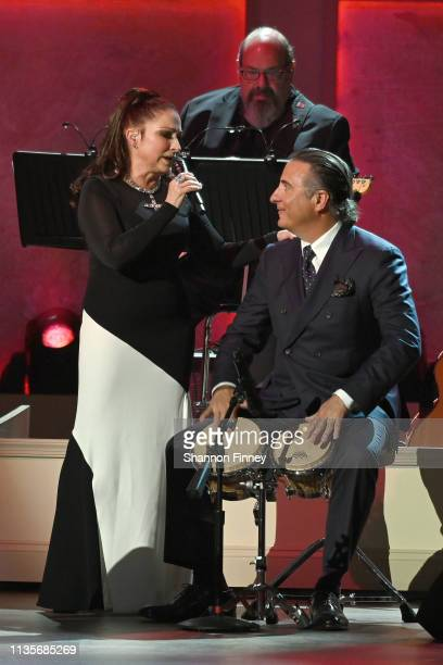 Gloria Estefan and actor Andy Garcia perform at the 2019 Gershwin Prize Honoree's Tribute Concert at DAR Constitution Hall on March 13 2019 in...