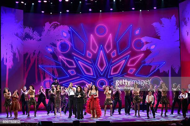 Gloria Estefan and Ana Villafane perform 'On Your Feet' onstage during the 70th Annual Tony Awards at The Beacon Theatre on June 12 2016 in New York...