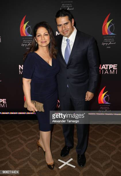 Gloria Estefan and Cesar Conde are seen at the Brandon Tartikoff Legacy Awards at NATPE 2018 at the Fontainebleau Hotel on January 17 2018 in Miami...