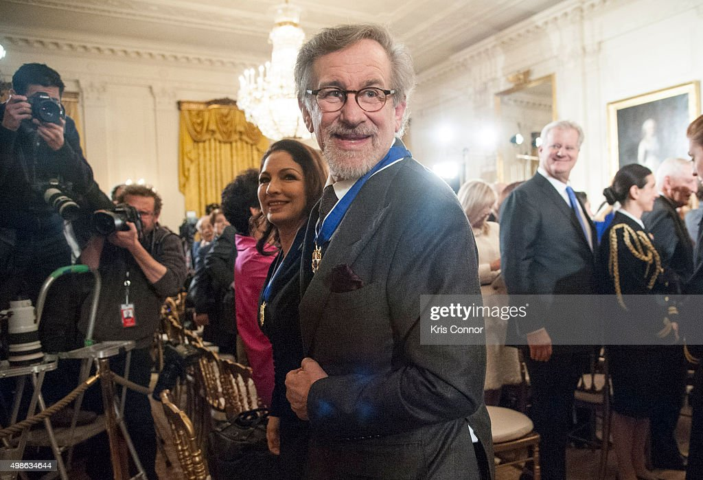 Gloria Estefan and Director Steven Spielberg leave the 2015 Presidential Medal Of Freedom Ceremony at the White House on November 24, 2015 in Washington, DC.