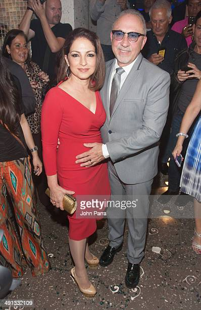 Gloria Estefan and Emilio Estefan arrive to Larios on the beach Grand ReOpening on May 15 2014 in Miami Beach Florida